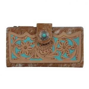 Myra Bag™️ Western Tooled Leather Wallet (Hair on)